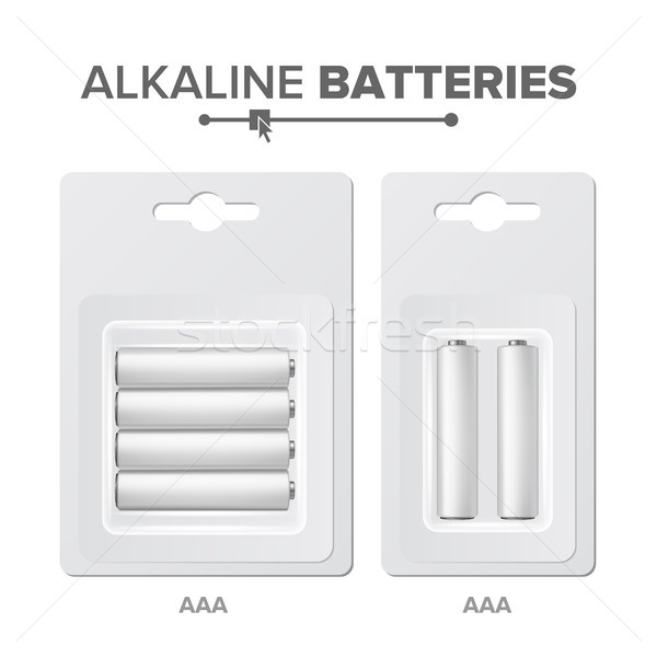 AAA Batteries Packed Vector. Alkaline Battery In Blister. Realistic Glossy Battery Accumulator. Mock Stock photo © pikepicture