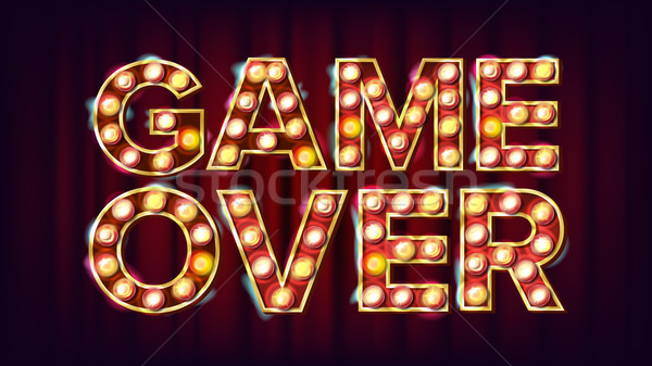 Game Over Banner Vector. Casino 3D Glowing Element. For Slot Machines, Card Games Design. Modern Ill Stock photo © pikepicture