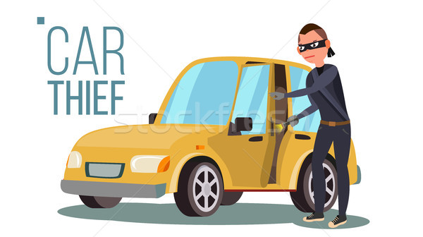 Thief And Car Vector. Breaking Into Car. Insurance Concept. Burglar, Robber, Thief, Robbery, Purse.  Stock photo © pikepicture