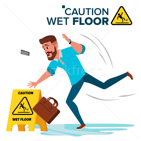 Man Slips On Wet Floor Vector. Caution Sign. Isolated Flat Cartoon Character Illustration Stock photo © pikepicture
