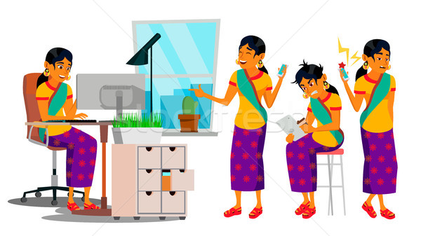 Business Man Character Vector. Working Hindu Male. IT Startup Business Company. Environment Process. Stock photo © pikepicture