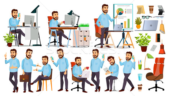 Boss Character Vector. CEO, Managing Director, Representative Director. Poses, Emotions. Boss Meetin Stock photo © pikepicture