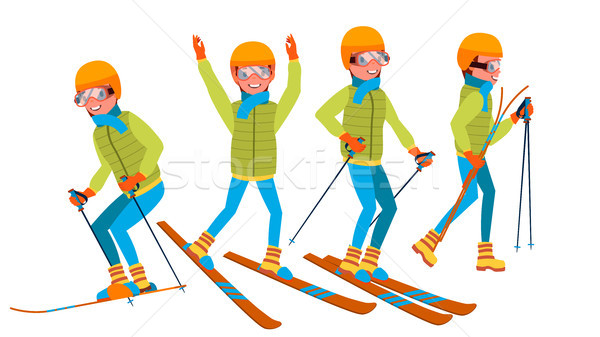 Skiing Male Vector. Holidays. Cross Country Skiing. Playing In Different Poses. Man. Isolated On Whi Stock photo © pikepicture
