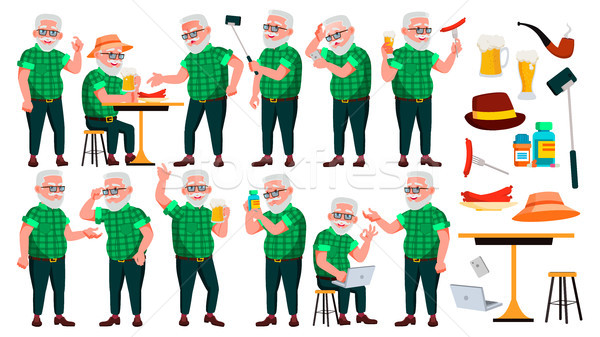 Old Man Poses Set Vector. Elderly People. Senior Person. Aged. Cute Retiree. Activity. Advertisement Stock photo © pikepicture