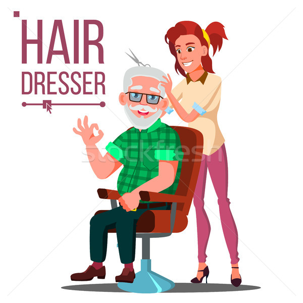 Stock photo: Hairdresser And Old Man Vector. Client Sitting On The Chair. Modeling. Isolated Flat Cartoon Illustr