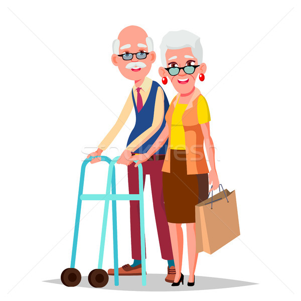 Elderly Couple Vector. Modern Grandparents. Elderly Family. Grey-haired Characters. European. Isolat Stock photo © pikepicture