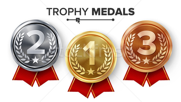 Gold, Silver, Bronze Medals Set Vector. Stock photo © pikepicture