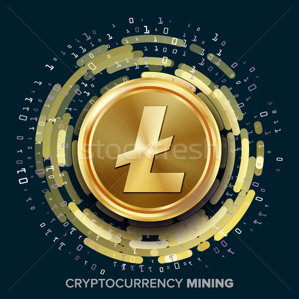Stock photo: Mining Litecoin Cryptocurrency Vector. Golden Coin, Digital Stream. Futuristic Money. Fintech Blockc