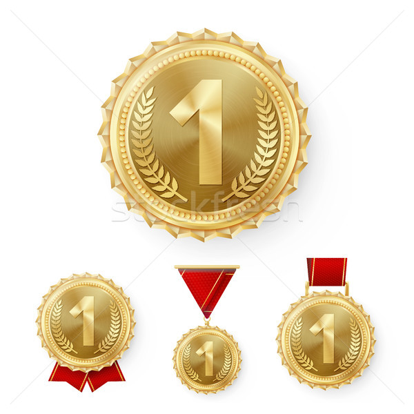 Champion Bronze Medals Set Vector. Metal Realistic 3rd Placement Winner Achievement. Number Three. R Stock photo © pikepicture