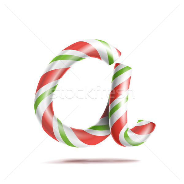Letter A Vector. 3D Realistic Candy Cane Alphabet Symbol In Christmas Colours. New Year Letter Textu Stock photo © pikepicture