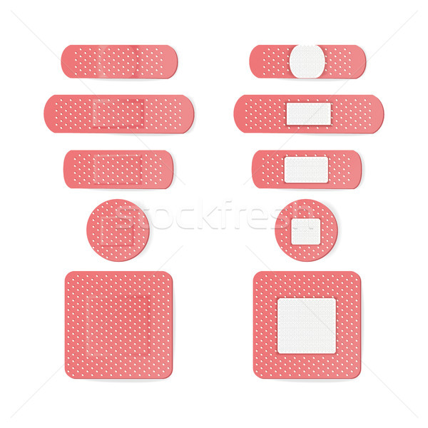 Medical Patch Vector. Two Sides. Adhesive Waterproof Aid Band Plaster Strips Varieties Icons Collect Stock photo © pikepicture
