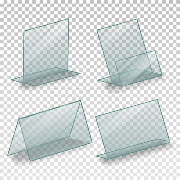 Table Blank Plastic Stand Holder Vector. Empty Business Information Plexiglass Holder. For Menu Pape Stock photo © pikepicture