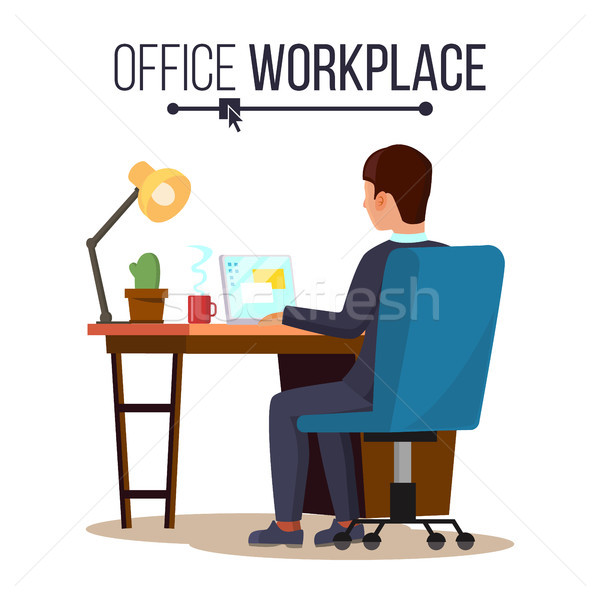 Office Workplace Concept Vector. Business Man Or Clerk Working At Office Desk. Flat Style Color Mode Stock photo © pikepicture