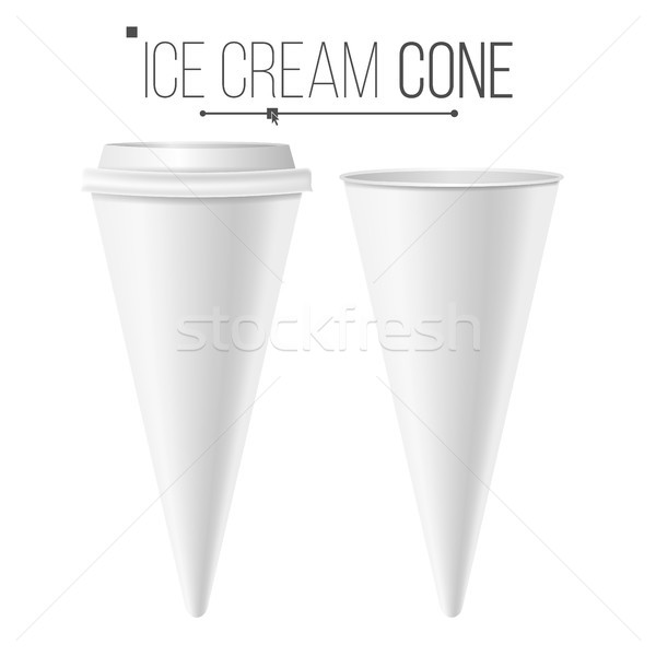 Realistic Ice Cream Cone Blank Vector. White Empty Blank. Ice Cream Cone Package. Food Carton Cone C Stock photo © pikepicture