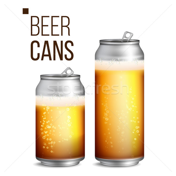 Beer Cans Vector. 500 and 330 ml Can Blank. Beer Background Texture With Foam And Bubbles. Isolated  Stock photo © pikepicture