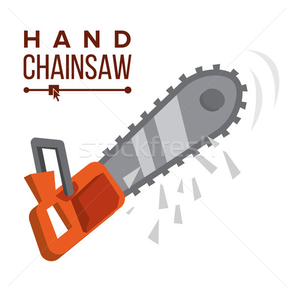 Hand Chainsaw Vector. Petrol Chain Saw. Professional Instrument, Working Tool. Isolated Flat Cartoon Stock photo © pikepicture