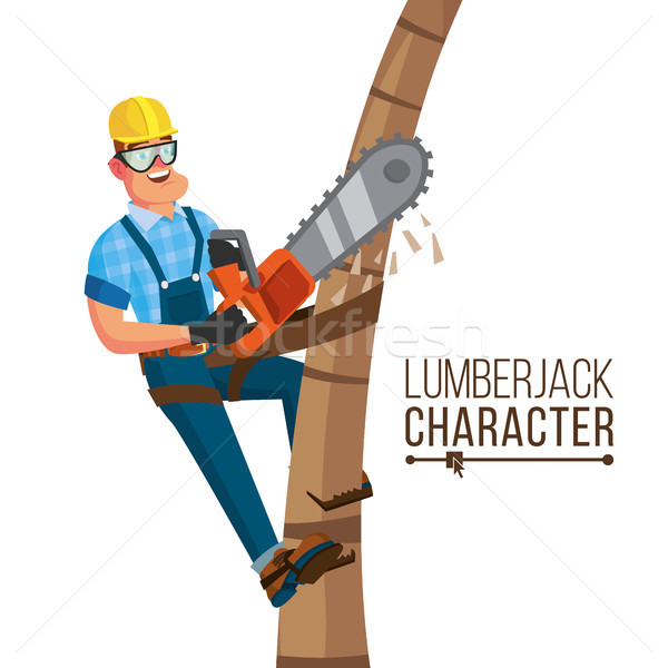 Lumberjack Vector. Classic Worker With Hand Chainsaw Tool. Deforestation Concept. Isolated Cartoon F Stock photo © pikepicture