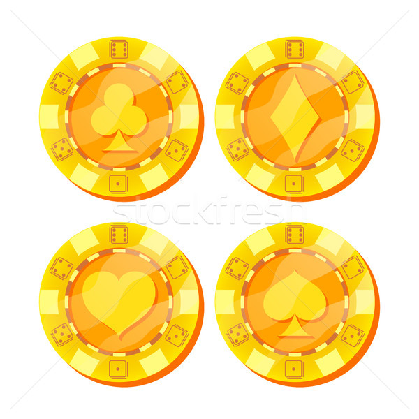 Poker Chips Vector. Card Suits Sign. Flat, Cartoon Set. Game Money. Gold Poker Game Chips Sign Isola Stock photo © pikepicture