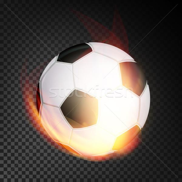 Fussball Ball Feuer Vektor Realistisch Brennen