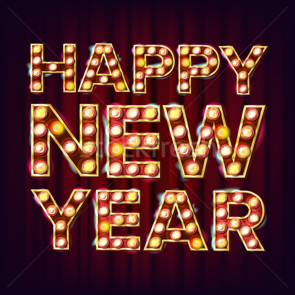 Stock photo: Happy New Year Sign Vector. Realistic Retro Shine Lamp Bulb. Vintage Golden Illuminated Neon Light.