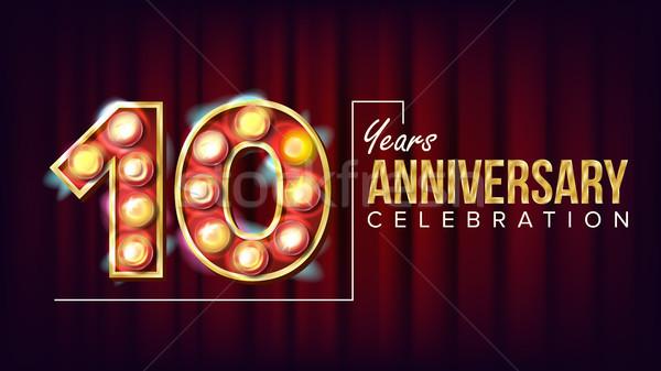 Stock photo: 10 Years Anniversary Banner Vector. Ten, Tenth Celebration. Vintage Style Illuminated Light Digits.
