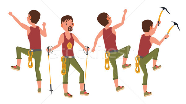 Rock Climber Man Vector. Bouldering Sport. Different Positions. Tourist Hiking, Resting. Extreme Hob Stock photo © pikepicture