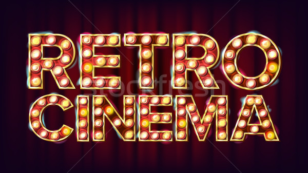 Retro Cinema Sign Vector. Cinema Vintage Style Illuminated Light. For Concert, Party Advertising Des Stock photo © pikepicture