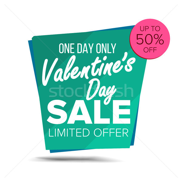 Valentine s Day Sale Banner Vector. February 14 Sale Background. Half Price Love Sticker. Tag And La Stock photo © pikepicture