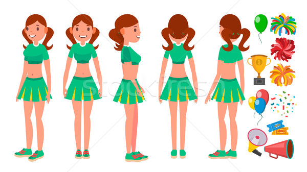 Cheerleaders Girls Set Vector. Different Poses. Dancing To Support Sport Soccer Team. Isolated Flat  Stock photo © pikepicture