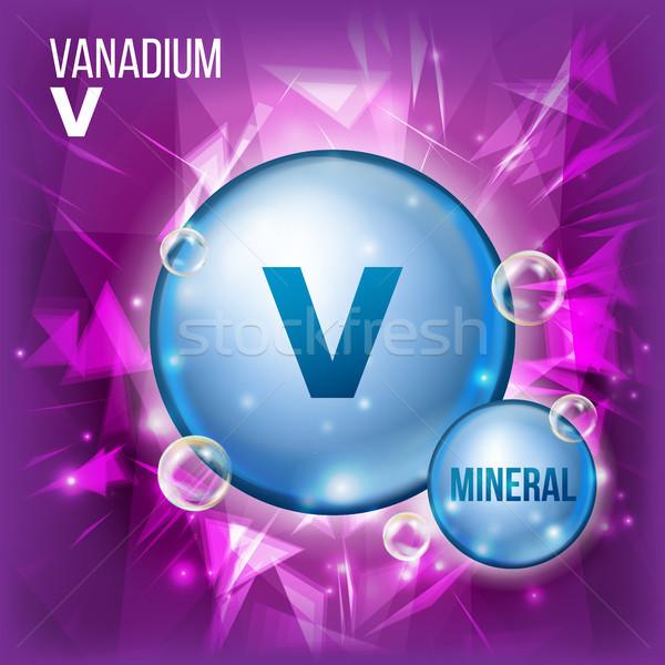 Vektor ásvány kék tabletta ikon vitamin Stock fotó © pikepicture