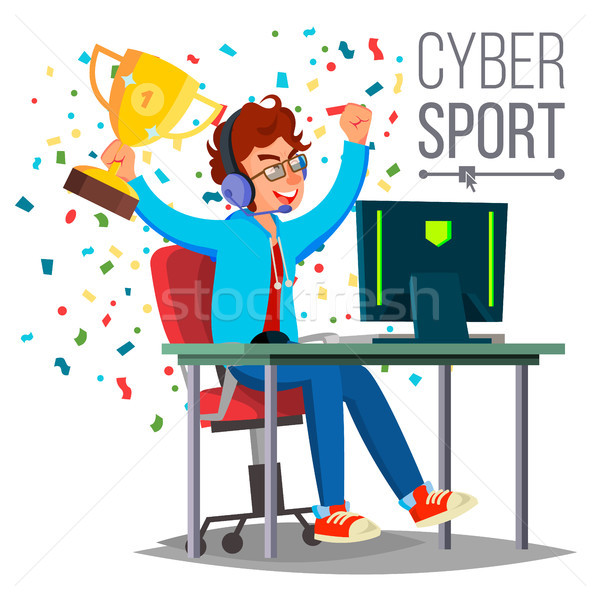 Cyber Sport Player Vector. Playing Computer Game. Professional Gamer. Event. Competition. Game Strat Stock photo © pikepicture