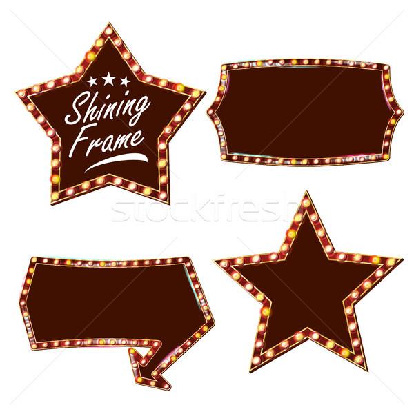Foto stock: Estrellas · cartel · vector · brillante · luz · signo