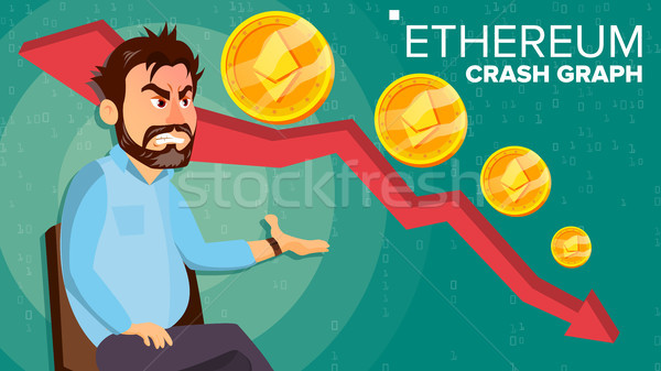 Ethereum Crash Graph Vector. Surprised Investor. Negative Growth Exchange Trading. Collapse Of Crypt Stock photo © pikepicture