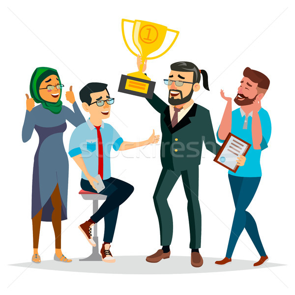 Business People Attainment Vector. Businessman Leader Holding Winner Golden Cup. Modern Office Emplo Stock photo © pikepicture