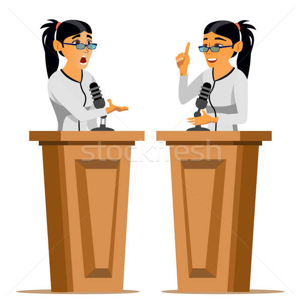 Speaker Woman Vector. Business Woman, Politician Giving Speech. Rostrum. Candidate. Isolated Flat Ca Stock photo © pikepicture