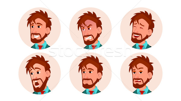 Man Avatar People Vector. Icon Placeholder. European Person Shilouette. Various Emotions. Scared, Ag Stock photo © pikepicture