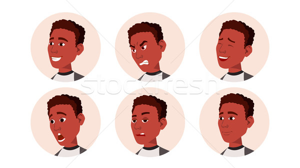 Avatar Icon Man Vector. Black. African. Facial Emotions. Round Portrait. Cute Employer. Happiness, U Stock photo © pikepicture