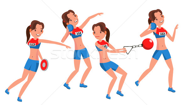 Athletics Female Player Vector. Playing In Different Poses. Woman. Athlete Isolated On White Cartoon Stock photo © pikepicture