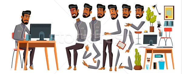 Arab Man Office Worker Vector. Animation Creation Set. Generator. Emotions, Animated Elements. Gestu Stock photo © pikepicture