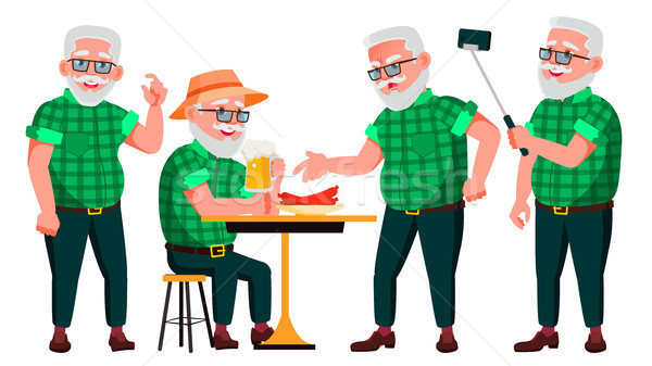 Old Man Poses Set Vector. Elderly People. Senior Person. Aged. Positive Pensioner. Advertising, Plac Stock photo © pikepicture