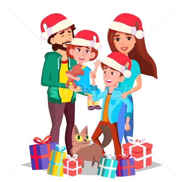 Stock photo: Christmas Family Vector. Mom, Dad, Children Together. In Santa Hats. Full Family. Celebrating. Decor