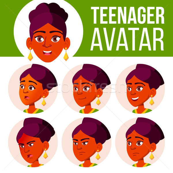Teen Girl Avatar Set Vector. Face Emotions. Children. Indian, Hindu. Asian. Beautiful, Funny. Cartoo Stock photo © pikepicture