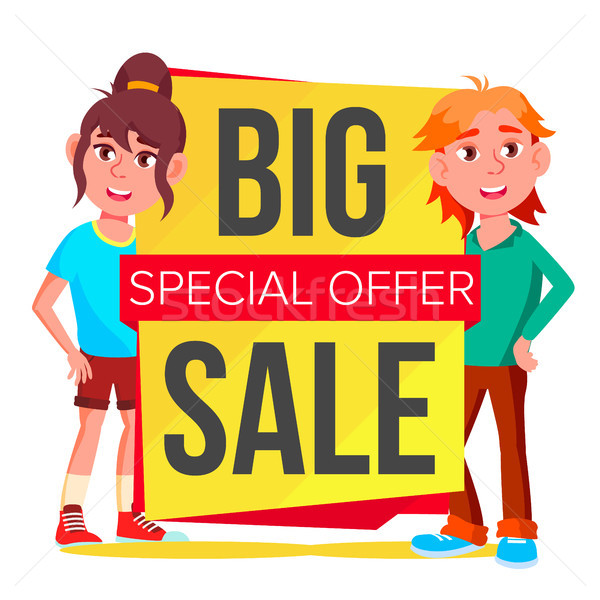 Big Sale Banner Vector. School Children, Pupil. Template Brochure. Special Offer Templates. Best Off Stock photo © pikepicture