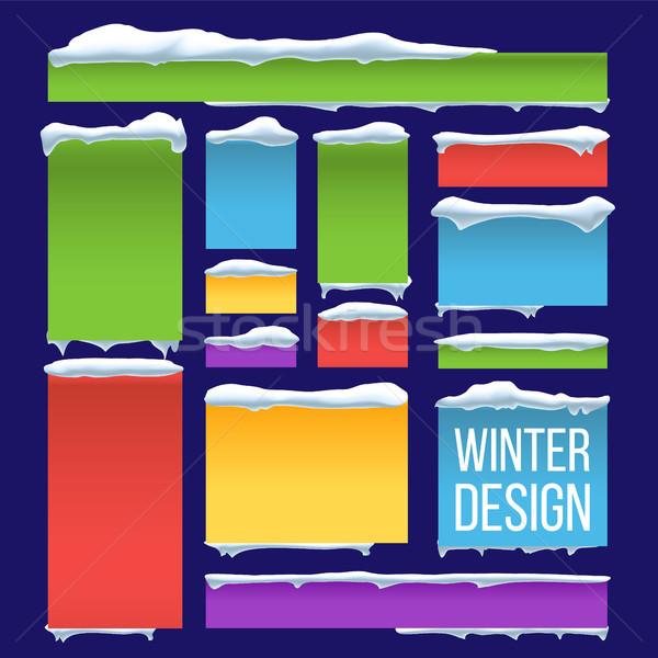 Banner knop sneeuw vector seizoen- sneeuwval Stockfoto © pikepicture