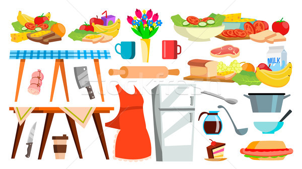 Kitchen Equipment Icon Vector. Kitchenware. Food Cooking Tools. Appliances. Isolated Cartoon Illustr Stock photo © pikepicture