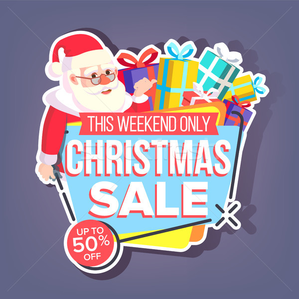 Christmas Sale Sticker Vector. Santa Claus. Up To 50 Percent Off Holiday Badges. Cheap Sign. Isolate Stock photo © pikepicture