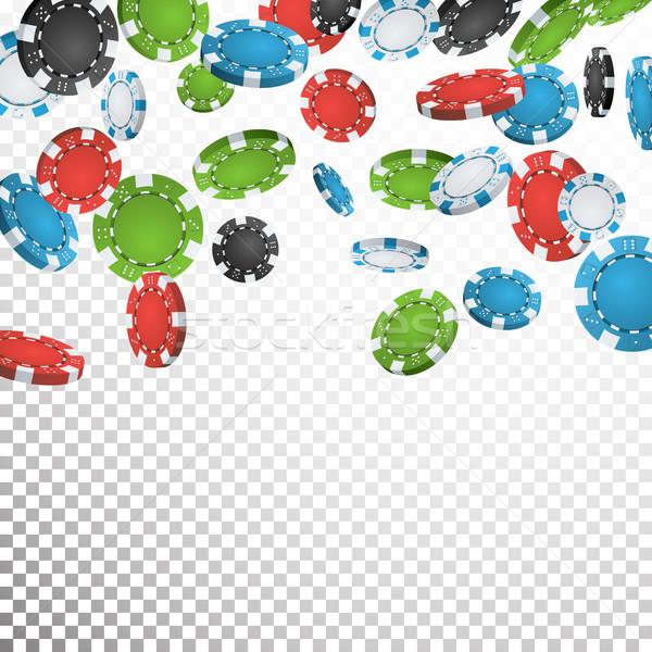 Hazárdjáték póker zsetonok eső vektor valósághű kaszinó zsetonok Stock fotó © pikepicture