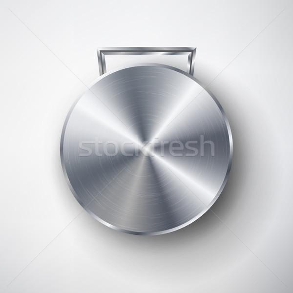 Stock foto: Wettbewerb · Spiele · Silber · Medaille · Vorlage · Vektor