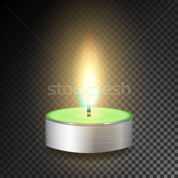 Burning 3D Realistic Dinner Candles. Dark Transparent Background Stock photo © pikepicture