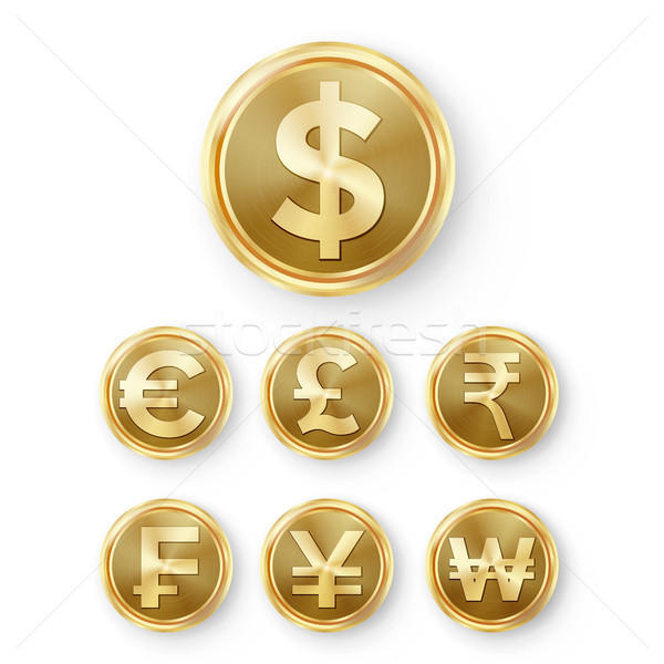Gold Coins Set Vector Stock photo © pikepicture